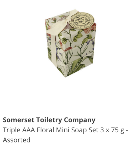 Somerset Toiletry Company Tripple AAA Floral Mini Soap Set 3 x 75 g assorted